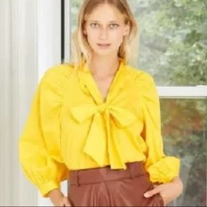 WHO WHAT WEAR CYBER YELLOW PUFF LONG SLEEVE BOW